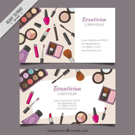 Make Up Tools Beautician Card Vector Free