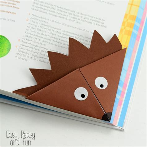 origami bookmarks hedgehog corner bookmark origami for easy peasy