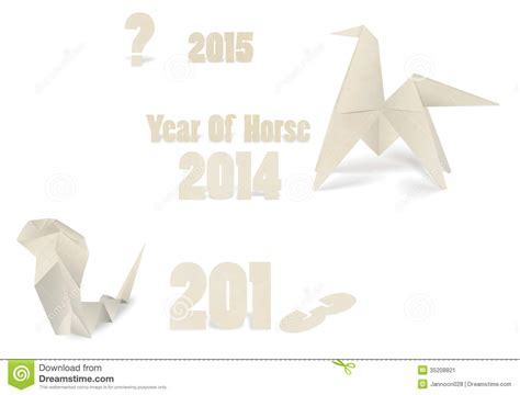 new origami new year origami paper 2014 vector