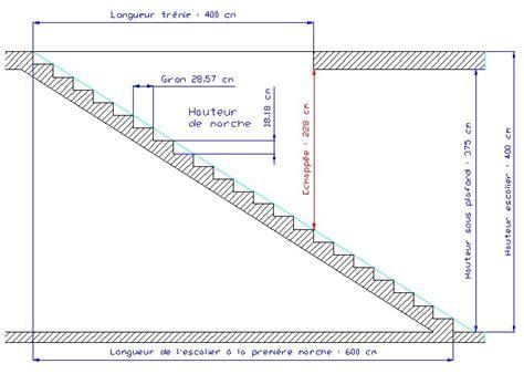 exemple la hauteur de l escalier est de 400 cm la hauteur sous plafond est de 375 cm on