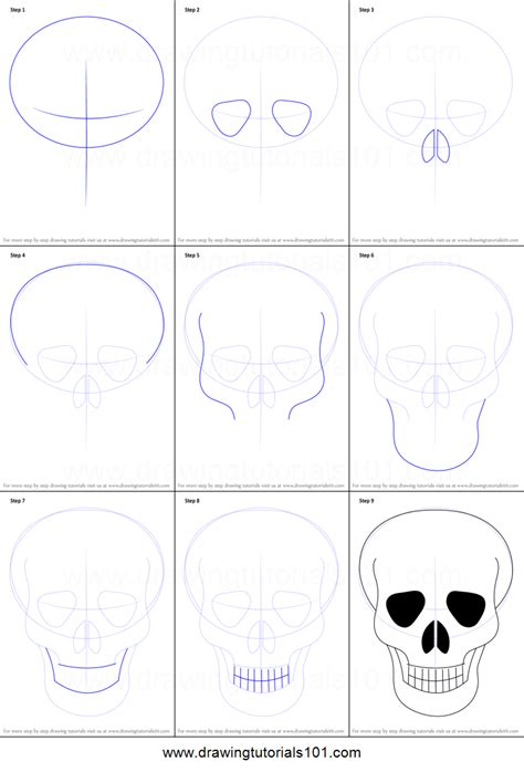 how to draw step by step how to draw skull easy printable step by step drawing