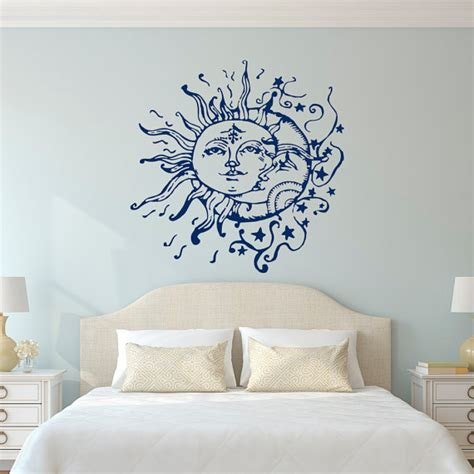 wall stickers for rooms sun moon wall decals for bedroom sun and moon wall