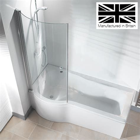 bath shower panels galaxia 1700mm p shaped shower bath with screen panel