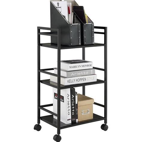 metal utility shelves 3 shelf metal rolling utility cart in black 7741196pcom