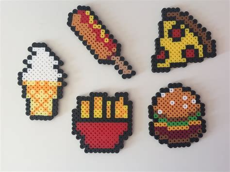 food perler fast food hamburger fries pizza corn perler