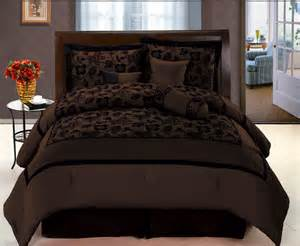 comfort set king new choco brown black bedding flock satin comforter set