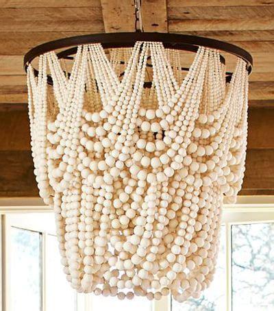 wood bead chandelier pottery barn amelia indoor outdoor wood bead chandelier lighting