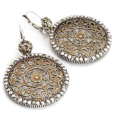 filigree jewelry pewter chevron medallion earrings fashion earrings