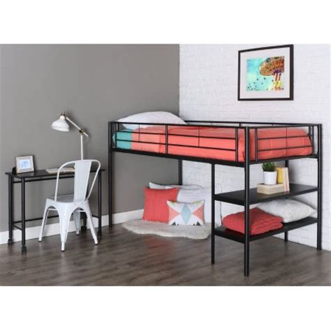 bed with desk metal loft bed with desk and shelving black