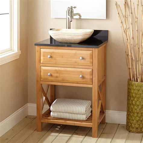 narrow bathroom sink vanity 24 quot narrow depth clinton bamboo vessel sink vanity bathroom