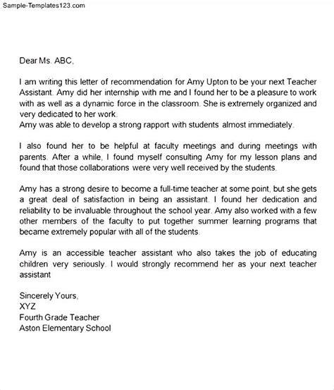 recommendation letter for teacher assistant sample templates