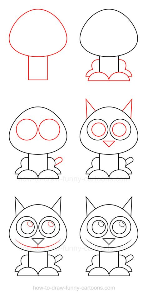 cat step by step how to draw a cat