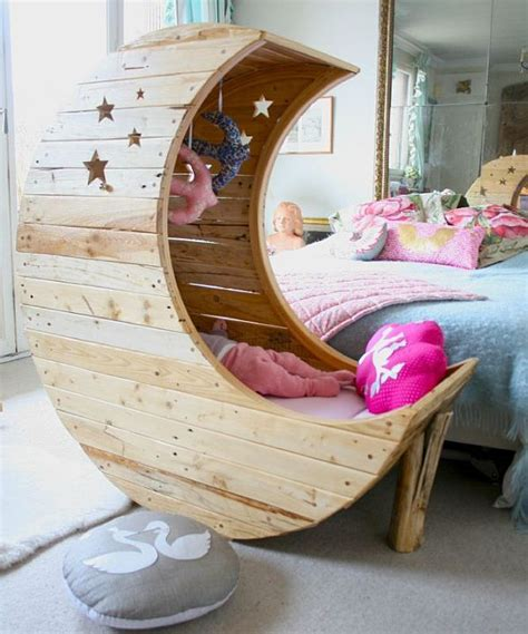 baby toddler bed comfortable wooden shaped moon crib