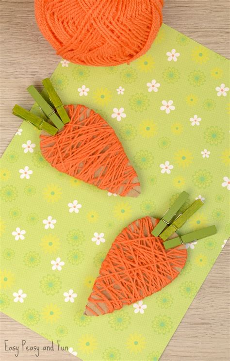 easy yarn crafts for yarn wrapped carrot craft for easy peasy and