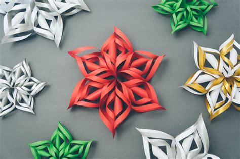 3d snowflakes paper craft how to make 3d paper snowflake diy crafts handimania