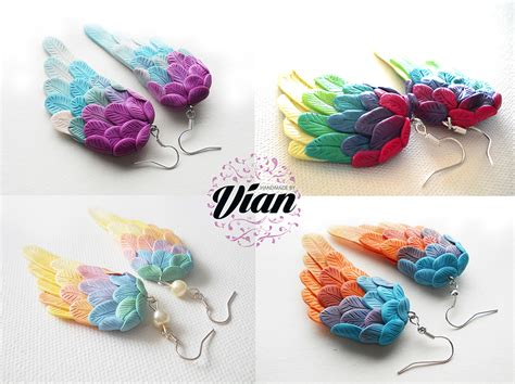 polymer clay polymer clay sculpted wing earrings my vian