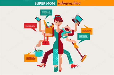 super mom multitasking woman illustrations on creative