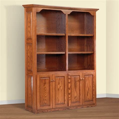 wood bookcases with doors unfinished amish furniture images amish solid wood