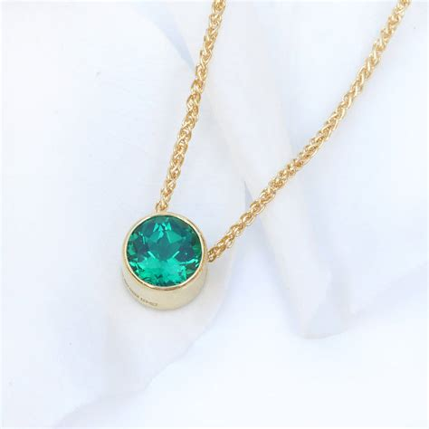 emerald necklace emerald necklace in 18ct gold may birthstone by lilia