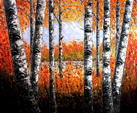 painting palette knife birches forest palette knife painting painting by georgeta