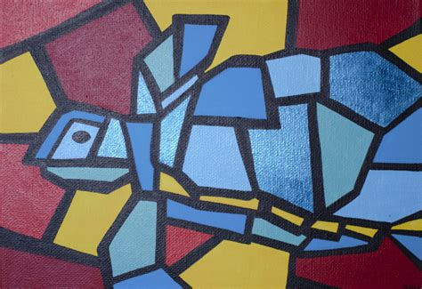 picasso paintings easy colorful cubism turtle aceo print picasso pets by tonitiger415