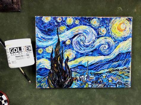 acrylic painting mediums step by step gogh s starry using impasto acrylic