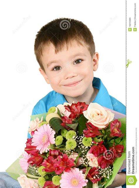 boys flowers one boy with bouquet of flower royalty free stock images