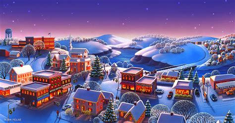 Home Decor Canvas Art winter town painting by robin moline