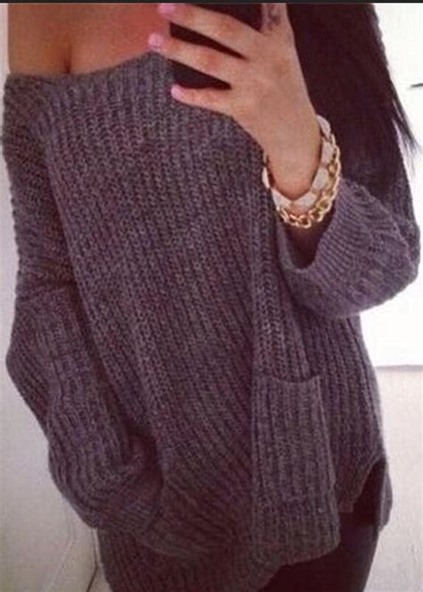 one shoulder knit sweater fashion casual chunky knit one shoulder pockets