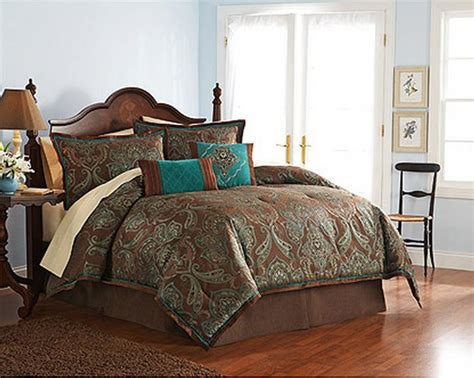 turquoise brown comforter sets 4 pc teal brown turquoise blue jacquard paisley