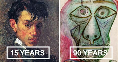 picasso paintings 14 years picasso s self portrait evolution from age 15 to age 90