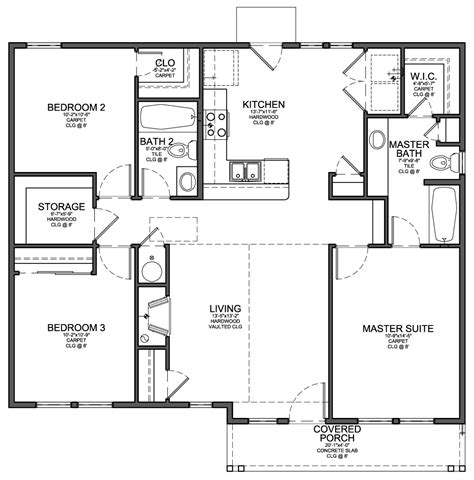 floor plans small homes floor plan for small 1 200 sf house with 3 bedrooms and 2