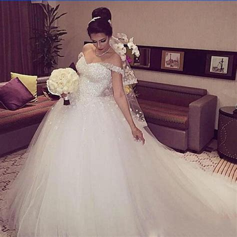 white beaded wedding dress glamorous 2016 new the shoulder white beaded tulle