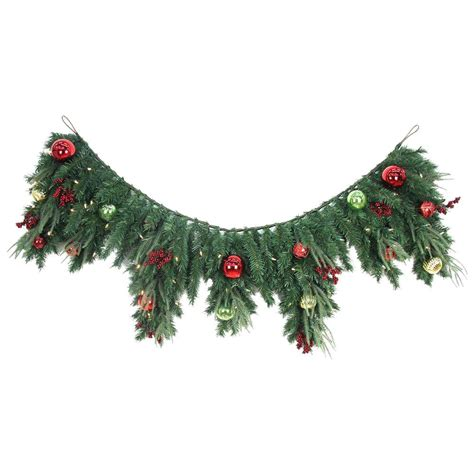 pre lit fireplace garland home accents 6 ft led pre lit jolly artificial