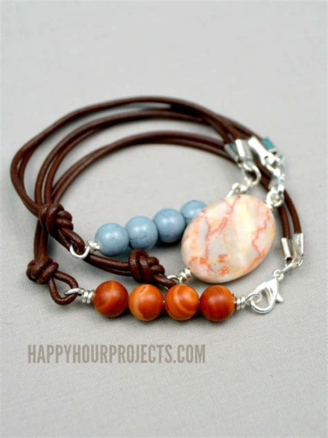 how to add a clasp to a beaded bracelet side clasp leather and bead bracelets happy hour