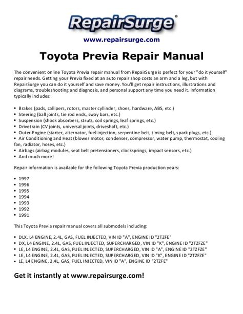 toyota previa repair manual 1991 1997