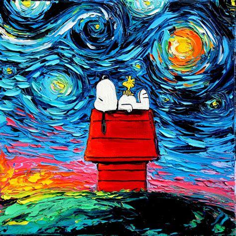 paint nite santa rosa snoopy peanuts starry print gogh never