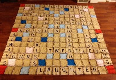 eq scrabble o sew many rags scrabble rag quilt what a great idea for