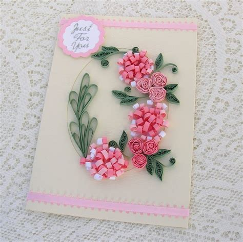 craft paper cards quilling greeting card paper quilled pink by enchantedquilling