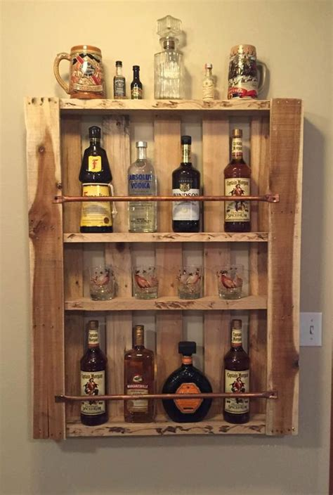 rustic pallet wood wall shelf liquor cabinet liquor bottle display home bar mini bar by