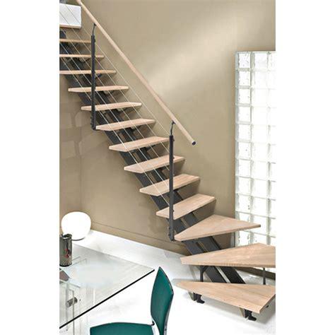escalier quart tournant escatwin marches bois structure aluminium gris leroy merlin