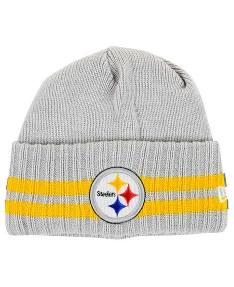 steelers knit hat ktz pittsburgh steelers striped cuff knit hat in gray for