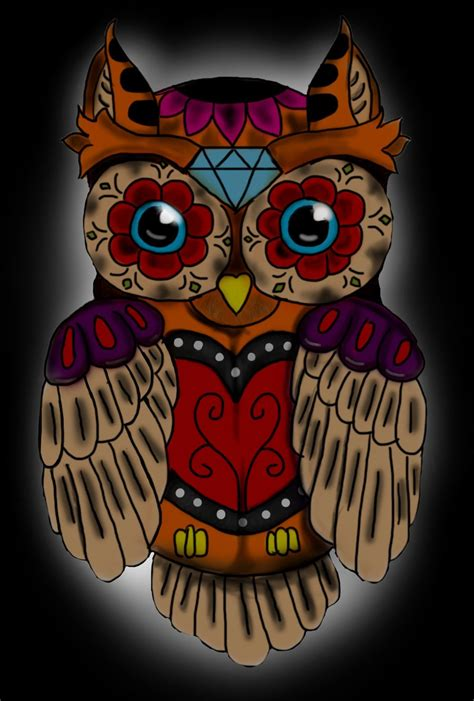 for sugar skull sugar skull owl by alienbuddhaartwork on deviantart