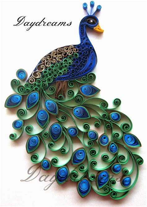 paper quilling crafts for daydreams quilled peacock embroidery design inspired