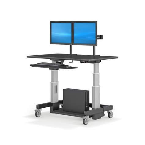 computer desk dual monitor height adjustable ergonomic computer workstation desk with