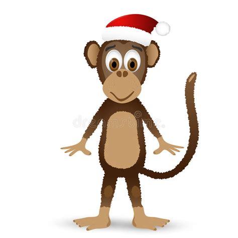 monkey santa monkey with santa hat isolated on white background stock