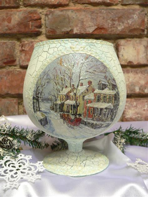 decoupage with pva how to make glass candlestick step by step