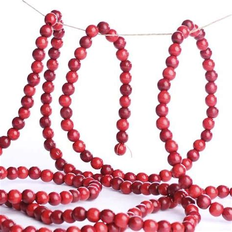 wooden bead garland for trees burgundy and cranberry wooden bead garland