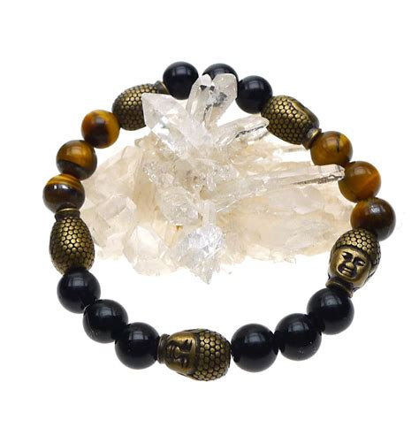 buddha bracelet buddha bracelet tiger s eye and black onyx with 5 buddha