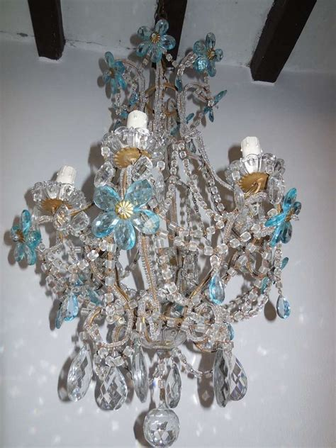 blue beaded chandelier c1920 aqua blue flower beaded chandelier at